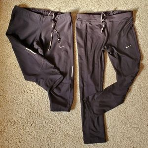 Two pairs of Nike training crop leggings